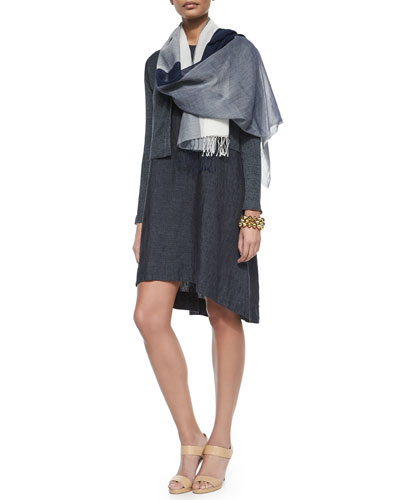 Linen Delave Crop Cardigan, Sleeveless Flare Dress & Natural Dyed Colorblock Scarf