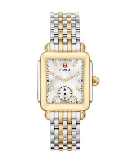 MICHELE 16mm Deco Two-Tone, Diamond Dial Watch Head