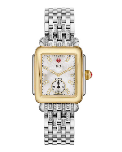 Deco 16 Two-Tone 18-Diamond Watch Head & 16mm Diamond Bracelet Strap