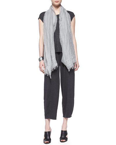 Short-Sleeve Hemp Twist Box Top, Iridescent Striped Scarf & Wide-Leg Ankle Hemp Twist Pants, Women