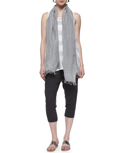 Striped Long Tank, Organic Cotton Slim Tank, Iridescent Striped Scarf & Cropped Harem Pants