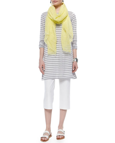Striped Linen Tunic, Maltinto Modal Stripe Scarf & Slim Crepe Capri Pants, Women's