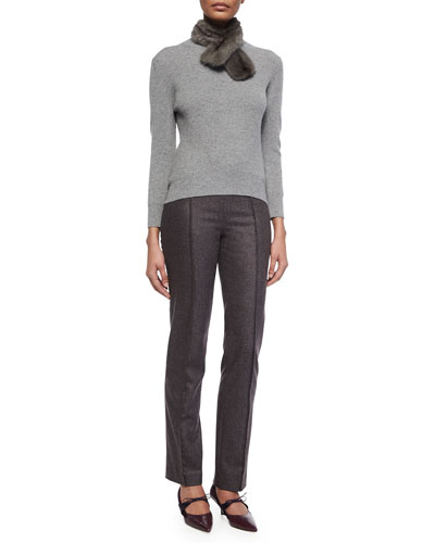 Ribbed Knit Sweater w/ Removable Fur Collar & Pintucked Skinny-Fit Melange Wool Pants