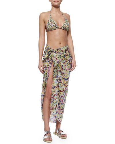 Parasol-Print Two-Piece String Bikini & Parasol-Print Voile Pareo