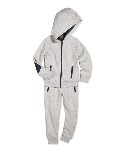 French Terry Zip-Front Hoodie & Drawstring Sweatpants, Marina Gray
