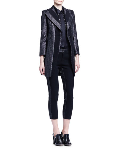 Paneled Zigzag Brocade Long Jacket, Linear Pearly Detailed Satin Blouse & Zigzag Brocade-Trimmed Ankle Pants