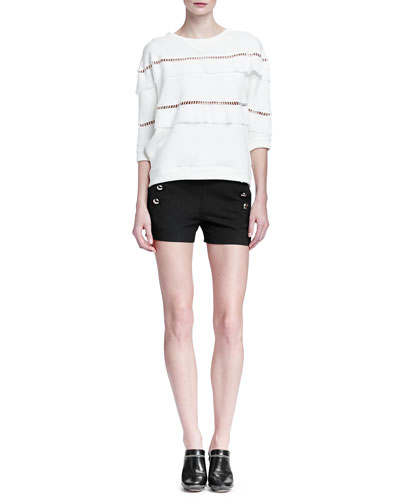 Hemstitched Pleated-Tiered Sweatshirt & Side-Button Sailor Shorts