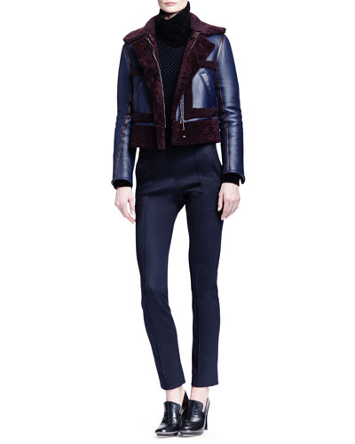 Iconic Shearling Aviator Jacket, Bicolor Ribbed T-Neck Sweater & Punto Milano Jersey Leggings