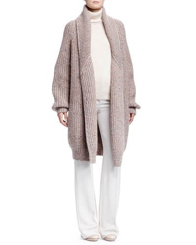 Shetland Ribbed Maxi Sweater, Cashmere Turtleneck Sweater & Crepe Sable Flare-Leg Pants
