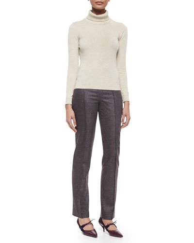 Wide Rib-Trim Turtleneck Sweater & Skinny Melange Wool Pants