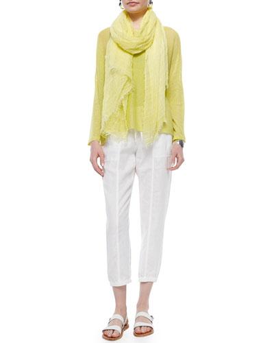 Long-Sleeve Mesh Box Top, Organic Cotton Slim Tank, Maltinto Modal Stripe Scarf & Organic Linen Cropped Pants
