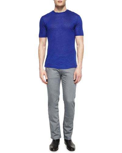 Tonal Stripe Short-Sleeve Tee & Five-Pocket Stretch-Cotton Jeans
