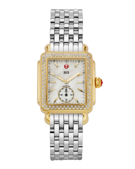 MICHELE 16mm Deco Diamond Watch Head, Gold