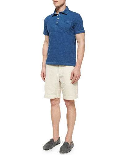 Denim-Look Polo Shirt & Wynn Triple-Washed Chino Shorts