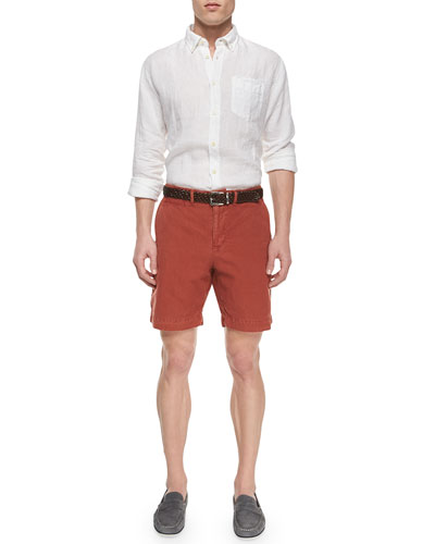 Jonathon Solid Long-Sleeve Linen Shirt & Wynn Triple-Washed Chino Shorts
