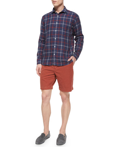 Windowpane Long-Sleeve Linen Shirt & Wynn Triple-Washed Chino Shorts