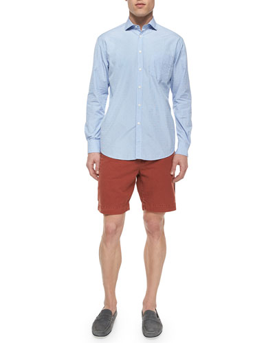 Brooks Dot-Print Long-Sleeve Shirt & Wynn Triple-Washed Chino Shorts