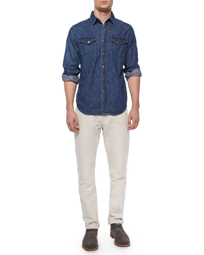 Long-Sleeve Denim Shirt & Ashland Five-Pocket Pants