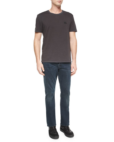 Crewneck Short-Sleeve Woven Tee & Five-Pocket Stretch-Knit Denim Jeans