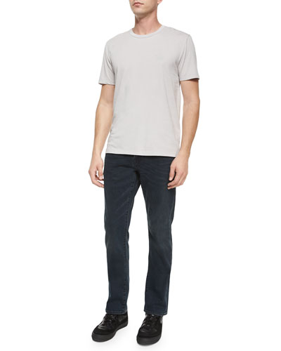 Crewneck Short-Sleeve Knit Tee & Five-Pocket Stretch-Knit Denim Jeans