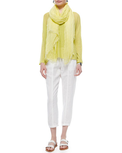 Long-Sleeve Mesh Box Top, Organic Cotton Slim Tank, Maltinto Modal Stripe Scarf & Organic Linen Cropped Pants, Women