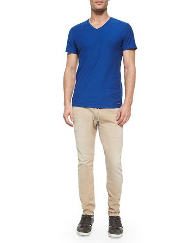 T. Tossik Slub V-Neck Tee & Krooley 0664A Jogger Khaki Jeans