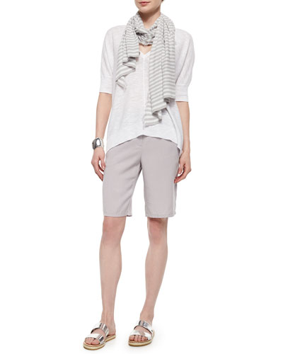Slub Links Box Top, Diagonal Striped Scarf & Long Twill Shorts, Women