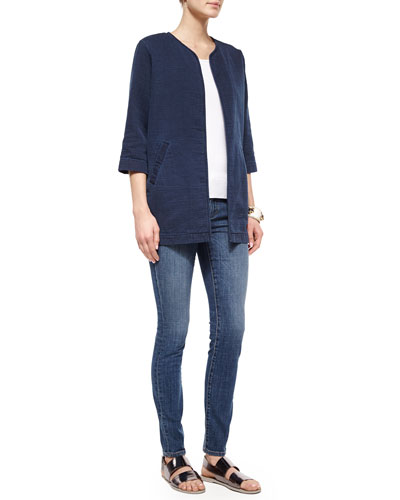 Fisher Project Denim Weave Long Jacket, Halter Ribbed Yoga Cami & Organic Stretch Skinny Jeans