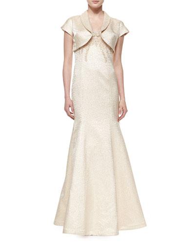 Cap-Sleeve Jacquard Bolero & Spaghetti Strap Jacquard Mermaid Gown