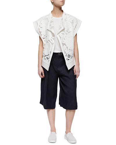 Mateo Rib-Trim Crochet Jacket & Belted Pleated Twill Culottes