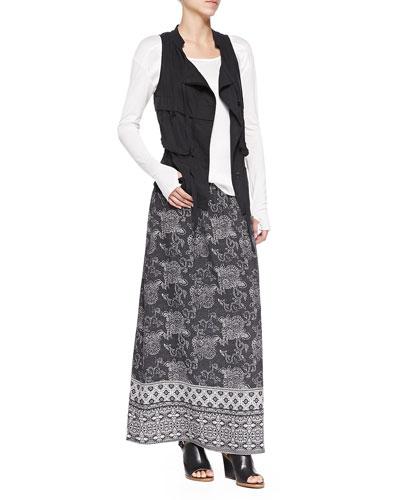 Silk Cargo Drawstring Vest, Glovette-Sleeve Silk-Cotton Tee & Silk Printed Long Skirt