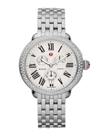 MICHELE 18mm Serein Diamond Watch Head, Steel