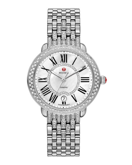 MICHELE 16mm Serein Diamond Watch Head, Steel
