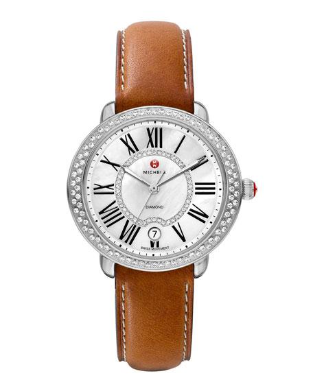 MICHELE 16mm Serein Diamond Watch Head, Steel