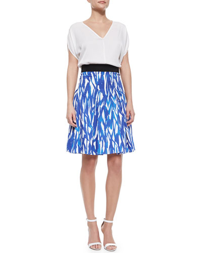 2d38fcbfc Milly Stretch-Silk Dolman-Sleeve Top & Brushstroke-Print Pleated Skirt