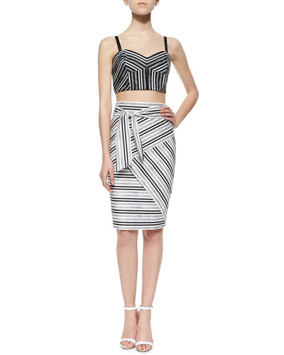 Striped Fitted Crop Top & Striped Tie-Waist Skirt