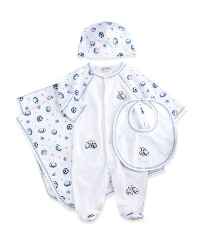 Saturday Sports Footie Pajamas, Baby Hat, Bib & Blanket