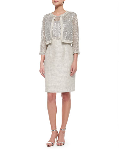 3/4-Sleeve Sequined Lace Jacket & Cap-Sleeve Combo Lace Tweed Sheath Dress