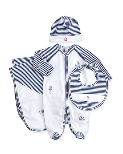 Topsail Striped Footie Pajamas, Baby Hat, Bib & Blanket