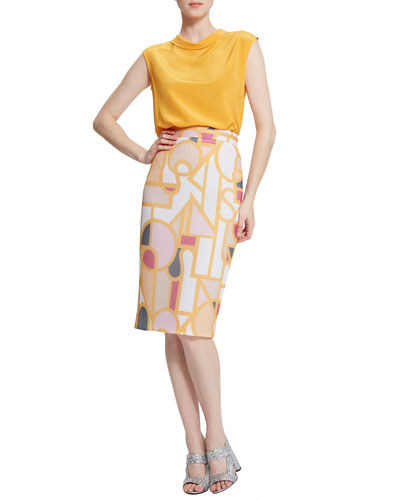 Eleanor Fold-Collar Silk Blouse & Puzzle-Print Mesh Pencil Skirt
