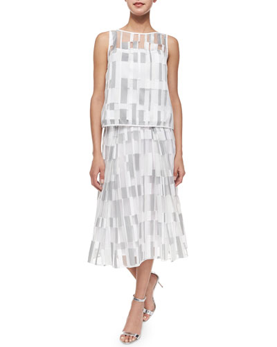 Cubist Fil Coupe Shell Top & Pleated Skirt