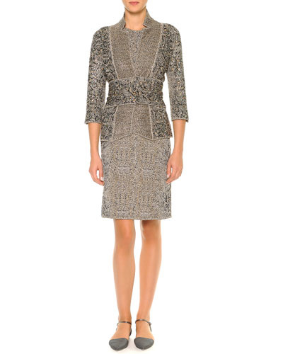 Crystal-Embroidered Animal-Print Jacquard Jacket & Animal-Print Jacquard Sheath Dress