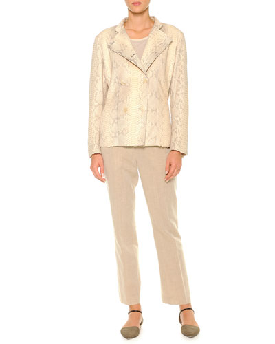Double-Breasted Python Jacket, Diagonal Rib-Knit Top & Linen-Blend Lightweight Ankle Pants