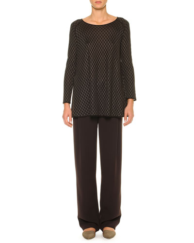 Cashmere-Blend Mini-Checked Tunic & Drawstring Wide-Leg Pleated Pants