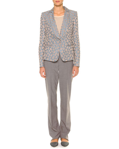 Leopard-Print Jacquard Blazer, Diagonal Rib-Knit Top & Seamed Tab-Front Straight-Leg Pants