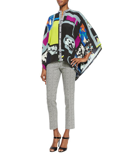 Cubic Pattern Button-Front Poncho & Pebble-Print Slim Capri Pants