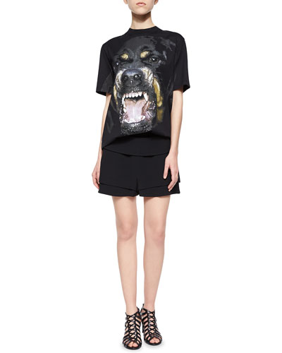 Giant Rottweiler Graphic T-Shirt & Banded-Waist A-Line Shorts