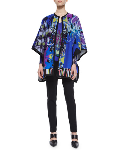 Orchid-Print Woven Poncho, Paisley-Print Colorblock Knit Sweater & Stretch-Wool Skinny-Fit Pants
