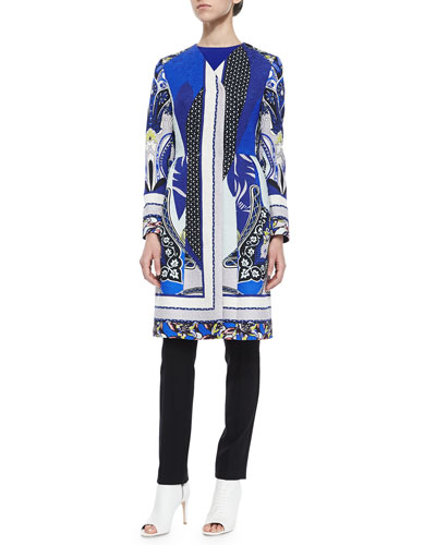 Paisley Spade Peplum Coat, Sleeveless Solid Cady Top & Stretch-Wool Skinny-Fit Pants