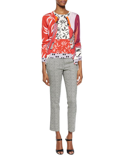 Mixed-Print Cashmere-Blend Cardigan, Top & Pebble-Print Slim Capri Pants